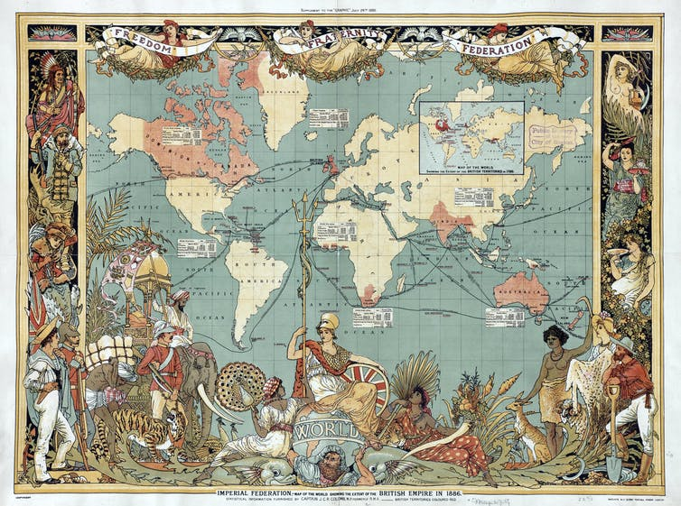 Imperial Federation Map of the World showing the extent of the British Empire. The Empire in red in 1886, by Walter Crane