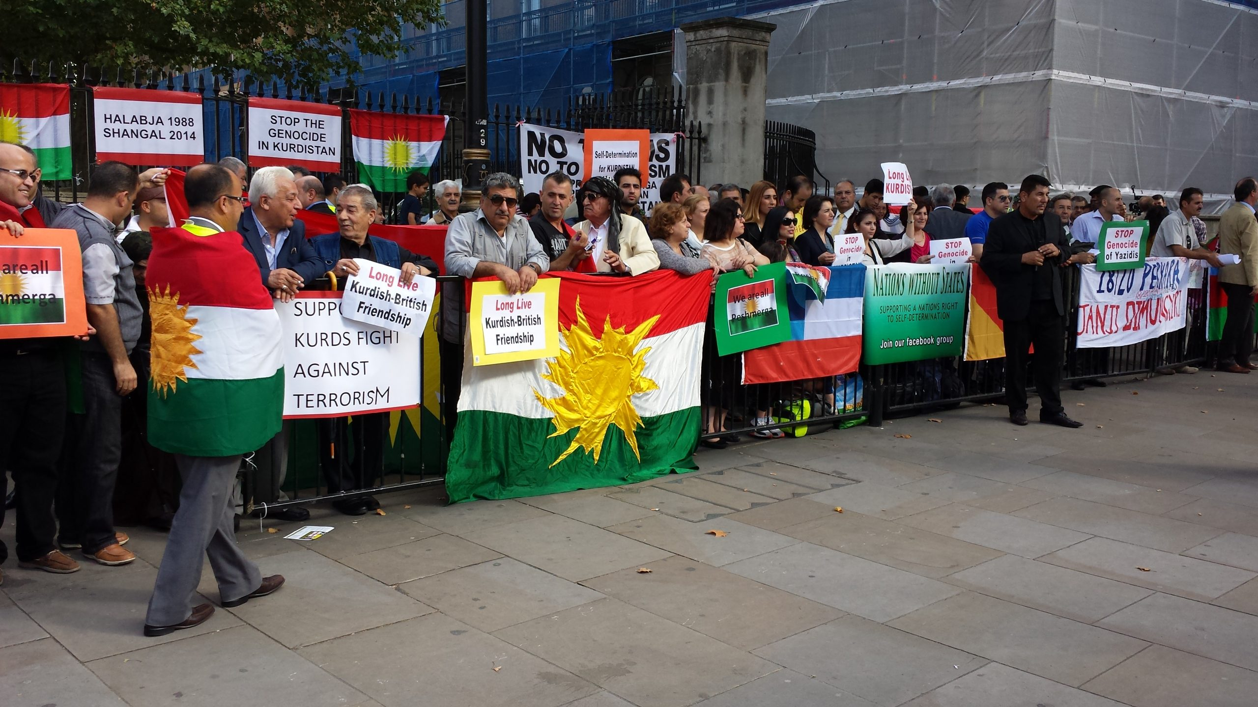 A demonstration of Kurdish diaspora activists with their compatiots in countrie of origin-The image was taken by the author