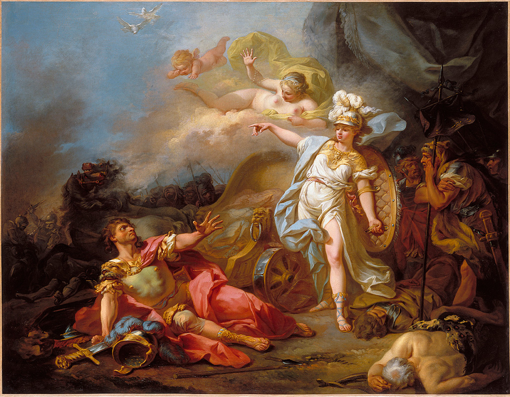 The Combat of Mars and Minerva, by Jacques-Louis David (1771)